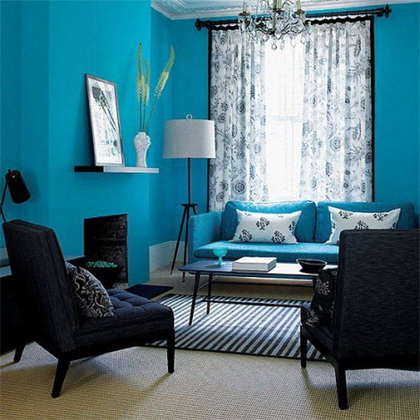 Blue Black Living Room