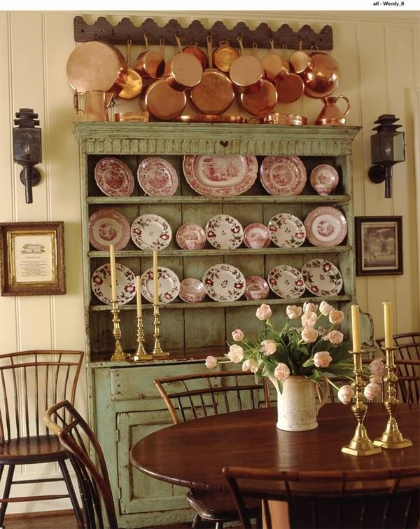 Shabby Chic Hutch With Copper Pans China Collection Pictures