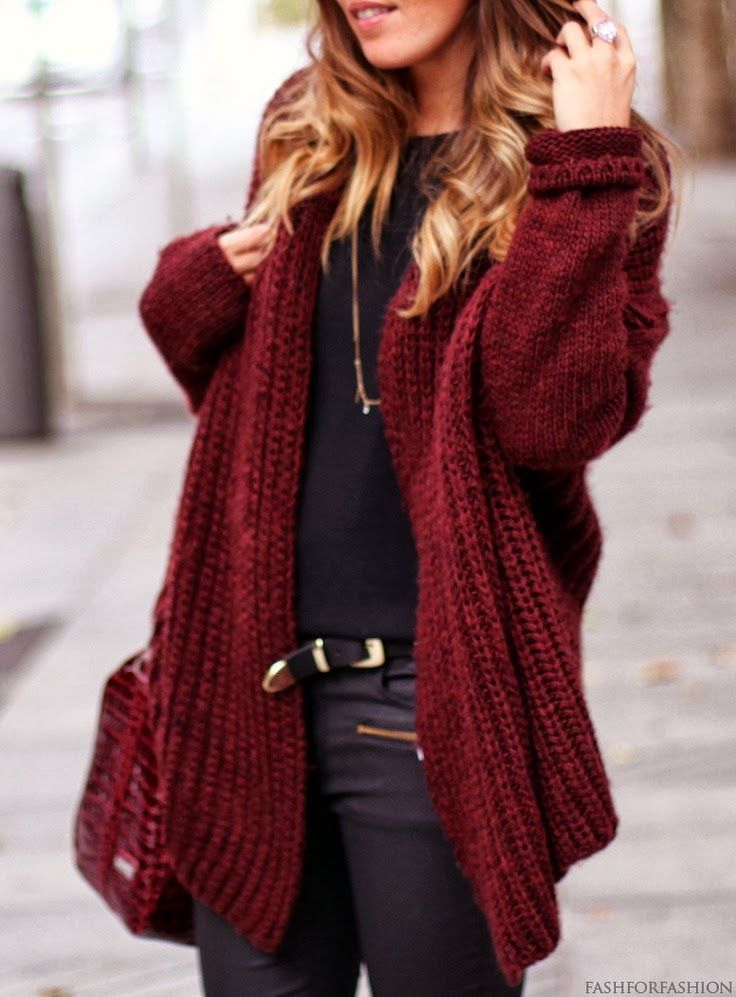 Wine Red Oversized Crochet Cardigan Pictures Photos And