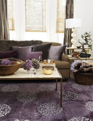 Gentil Modern Living Room With Purple Rug, Chocolate Brown Sofa Couch, Purple  Cushions And Brown Curtains