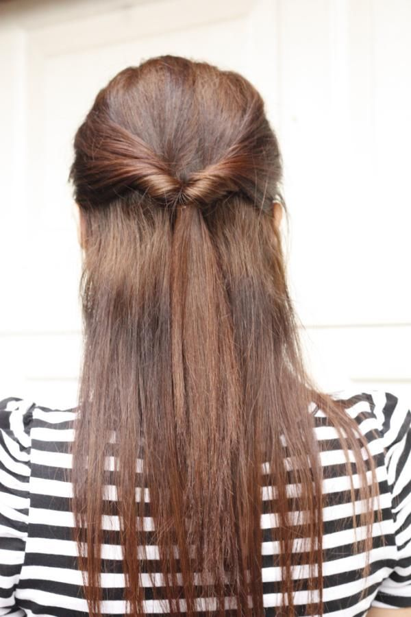 Quick Half-up Style For Long Straight Hair Tied By