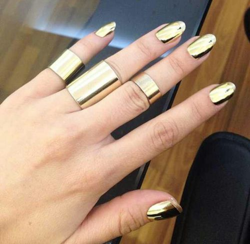 Gold Nails And Gold Rings Pictures Photos and Images for