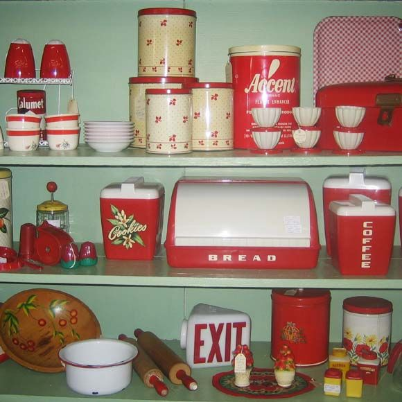 Vintage Kitchen Goods: Red And White Retro Kitchenware Pictures, Photos, And