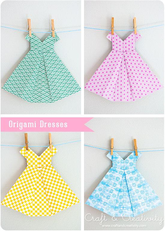 Платья оригами из бумаги