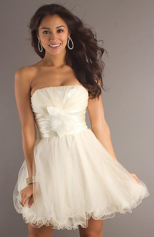 Cute Short Strapless White Dress Pictures, Photos, and Images for ...