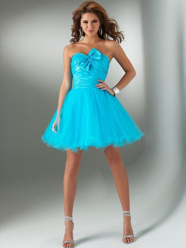 Strapless Short Turquoise Dress With Bownot Pictures
