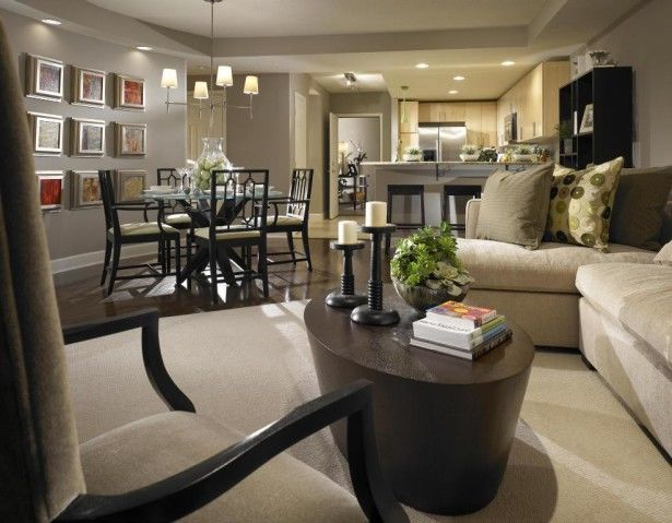 Rectangular Small Living Room Furniture Layout With Dining Room And Modern Kitchen Combo