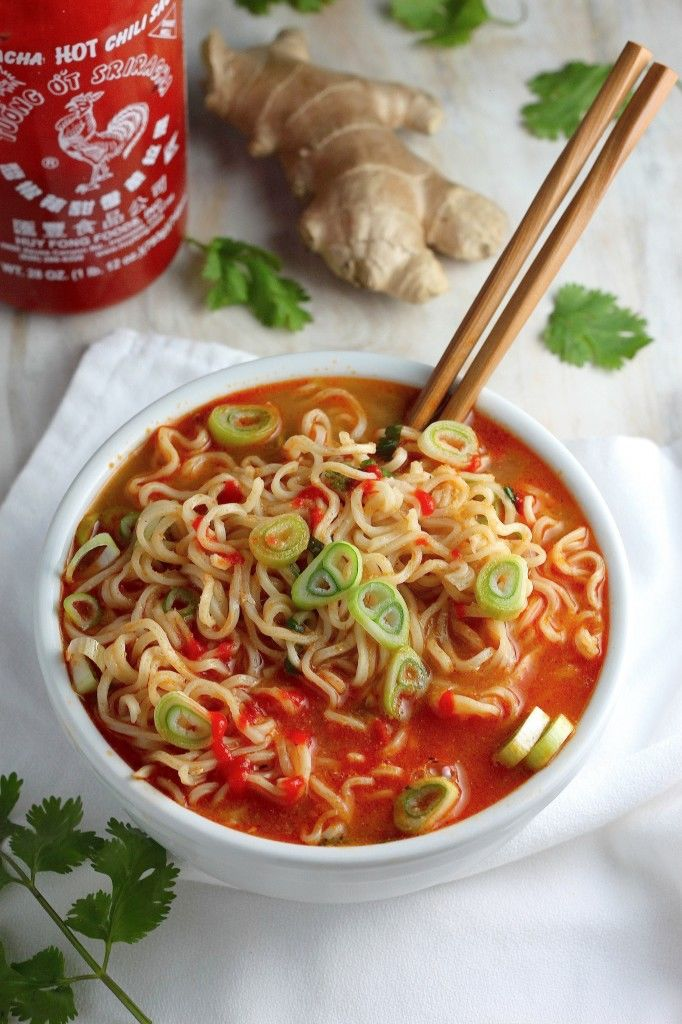 Spicy Sriracha Ramen Noodle Soup Pictures Photos And