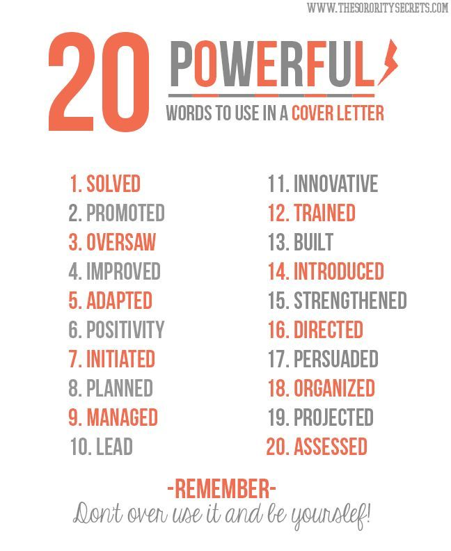 20 powerful words to use in a cover letter pictures photos and