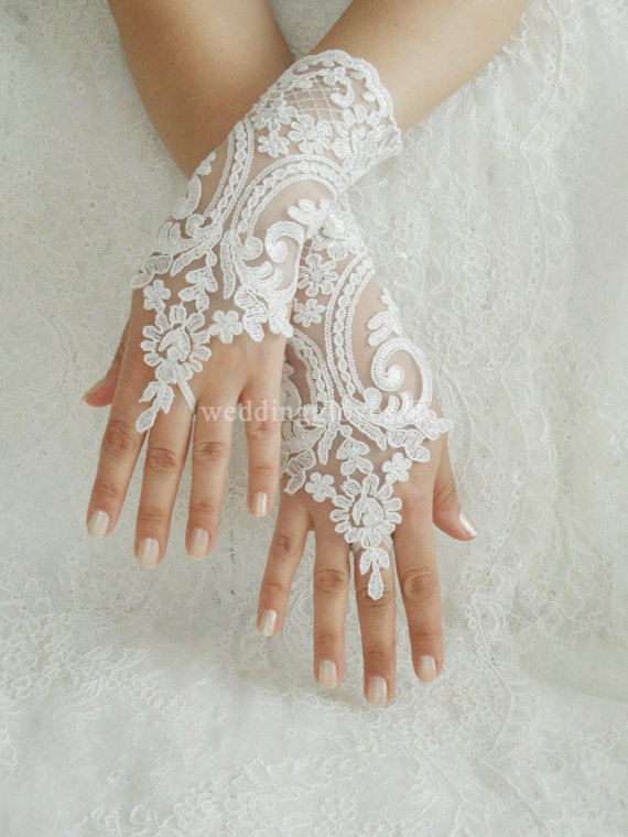 ivory white wedding lace gloves pictures photos and