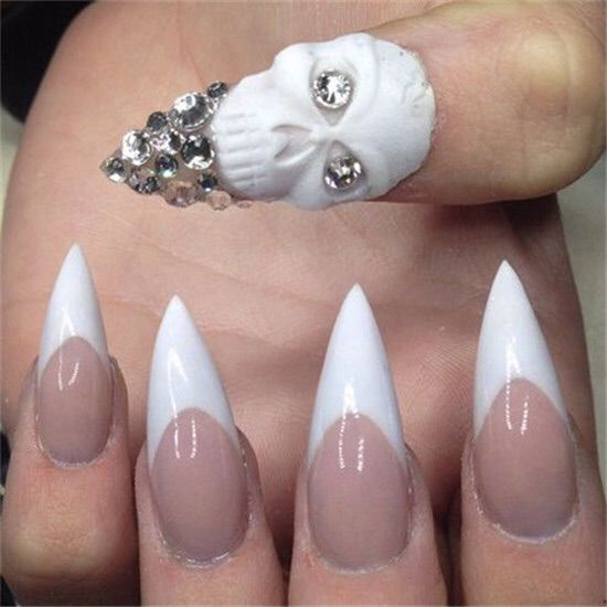 White Skull Nail Stiletto Nails Pictures, Photos, and ...