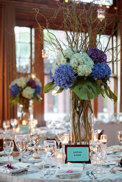 Blue Willow Centerpiece : Blue hydrangea and curly willow centerpieces pictures