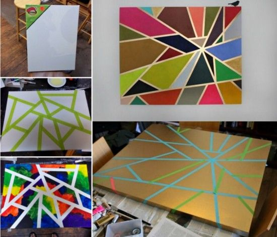 Canvas Painting With Tape: DIY Geometric Tape Painting Pictures, Photos, And Images