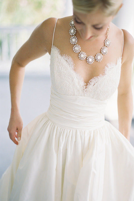 lace v neck gathered waist a line wedding gown with