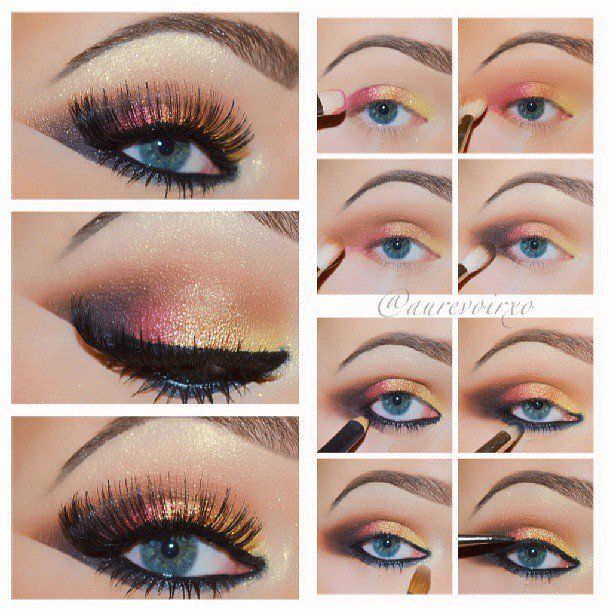 Rainbow Shimmer Eye Makeup For Blue Eyes Pictures Photos And
