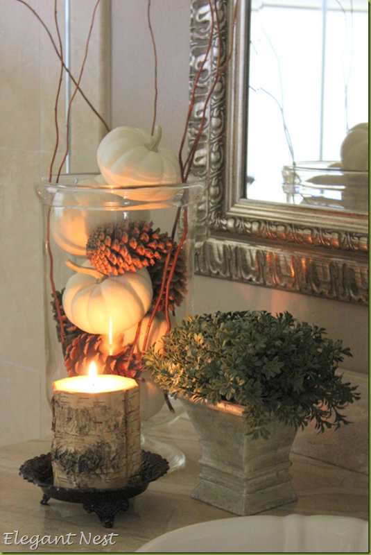 White Pumpkins Amp Pine Cones With A Wood Candle Pictures