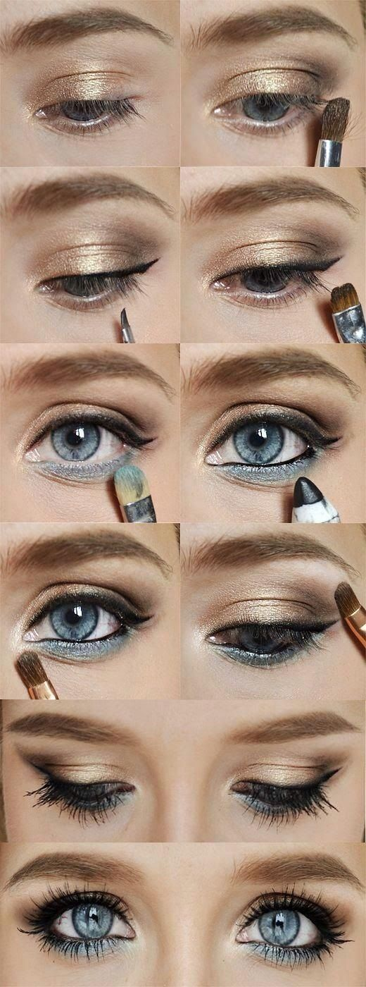 Gold And Blue Eye Makeup For Blue Eyes Pictures Photos And Images