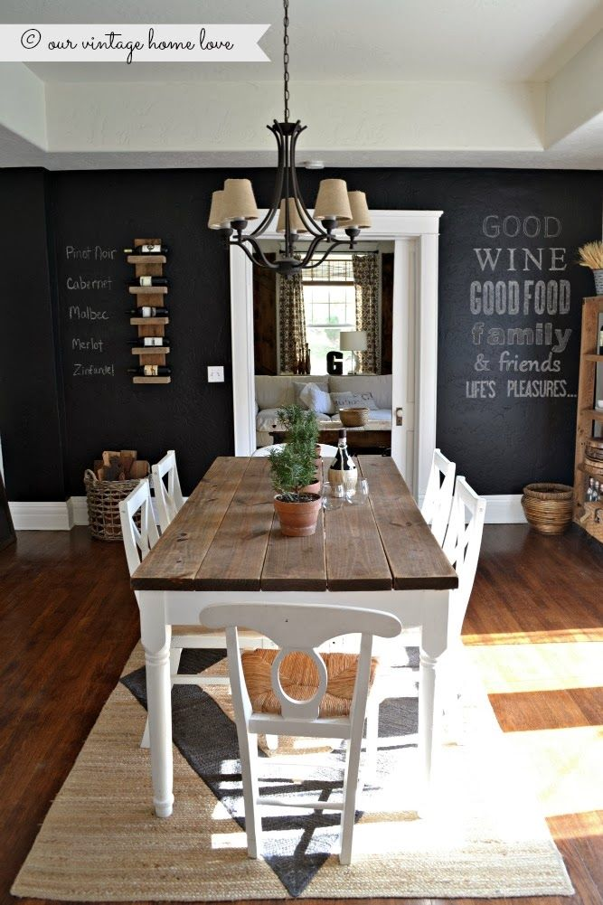 Natural Dining Room Farmhouse Table With Chalkboard Wall  : 201391 Natural Dining Room Farmhouse Table With Chalkboard Wall  from www.lovethispic.com size 667 x 1001 jpeg 107kB