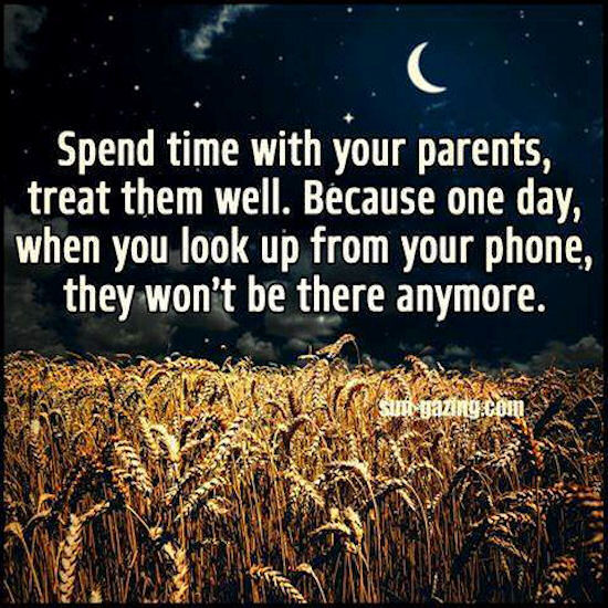 Quotes About Spending Time With Kids: Spend Time With Your Parents Because One Day They Won't Be