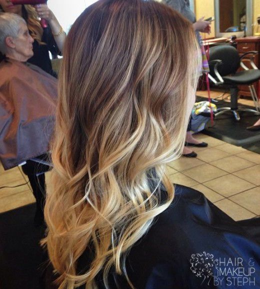 Trendy Long Brown To Blonde Ombre Hair With Waves Pictures Photos