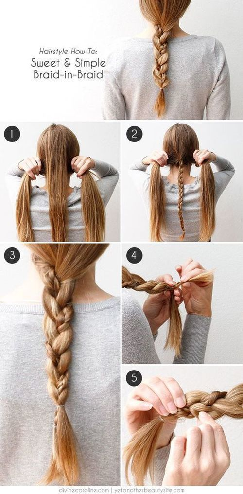 Sweet And Simple Braid In Braid Hair Tutorial Pictures ...