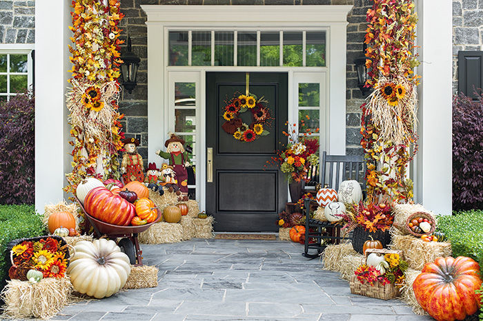 beautiful house decorated for autumn pictures photos and