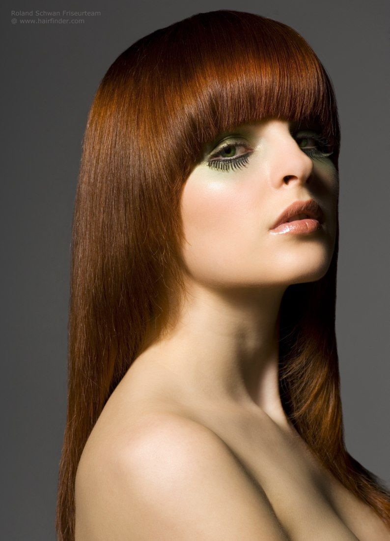 Brilliant Long Hair With A Blunt Cut Copper Tones Pictures Photos And Hairstyles For Women Draintrainus