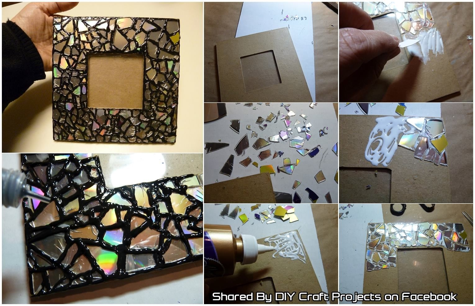 Diy recycled cd mosaic photo frame pictures photos and - Como hacer un marco de fotos a mano ...