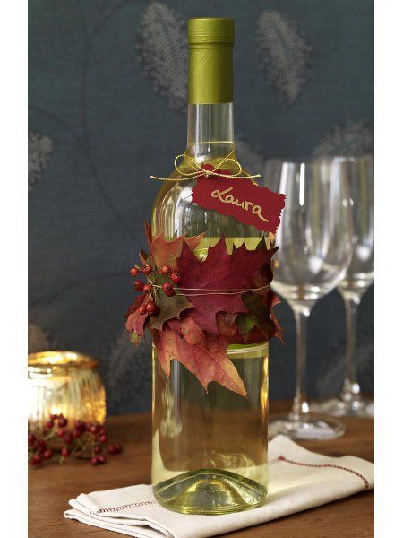 fall decoration for wine bottle as gift pictures photos