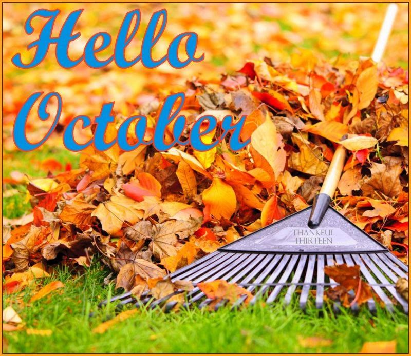 Hello October Quote With Autumn Leaves
