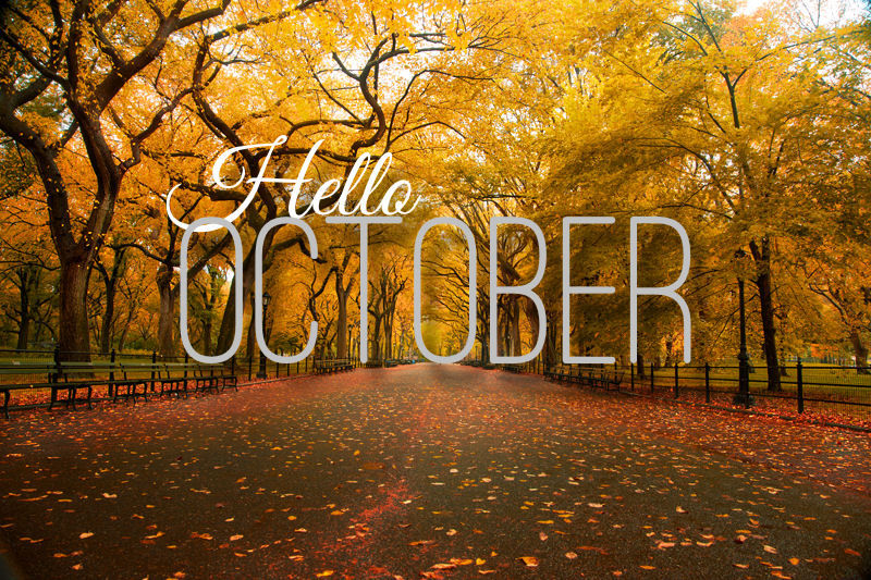 Hello October Quote With Autumn Trees Pictures, Photos ...