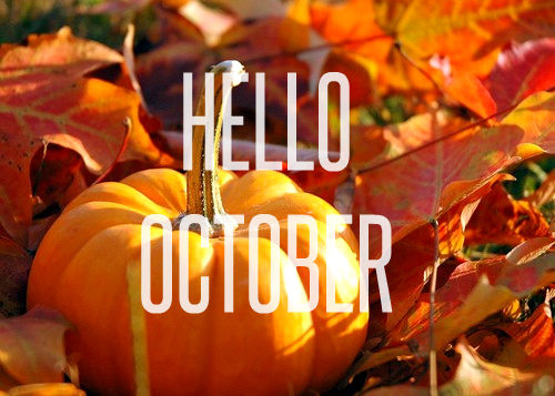 Hello October Quote With Pumpkins