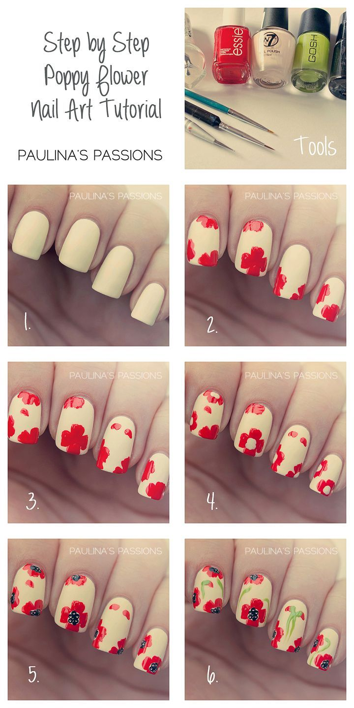 Step By Step Poppy Flower Nail Art Tutorial Pictures, Photos, and ...