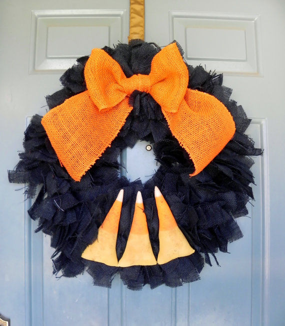 Burlap Candy Corn Halloween Wreath Pictures, Photos, and ...