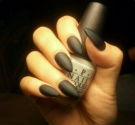 Matte Black Stiletto Nails