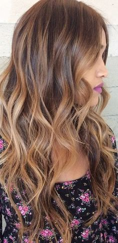 Long Brunette Hair With Blond Highlights Pictures Photos