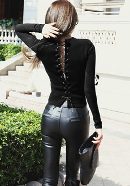 Black Lace up Back Top Pictures Photos and Images for
