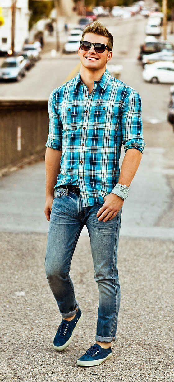 Blue Plaid Shirt With Jeans Pictures Photos And Images