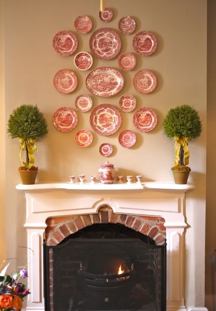 Collection Of Red & White Plates Over Fireplace Pictures, Photos ...