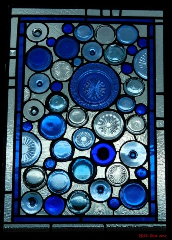 Recycled Stained Glass Window In Blues Pictures Photos