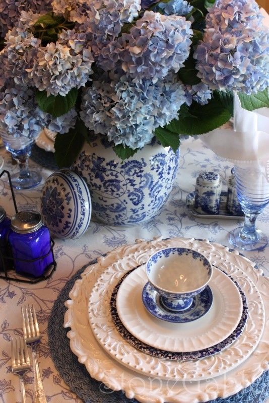 gorgeous blue white table setting pictures photos and