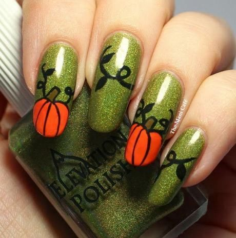 green glitter pumpkin nails pictures photos and images