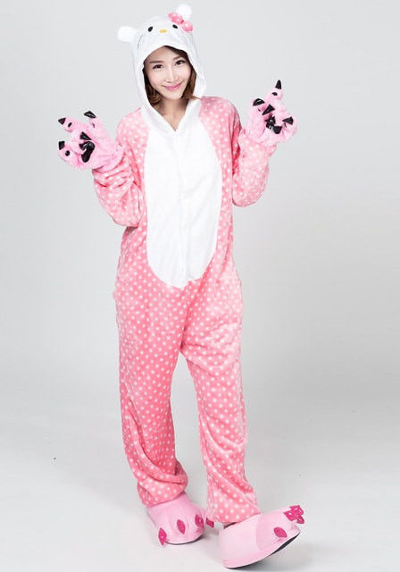 hello kitty flannel jumpsuit pictures photos and images. Black Bedroom Furniture Sets. Home Design Ideas