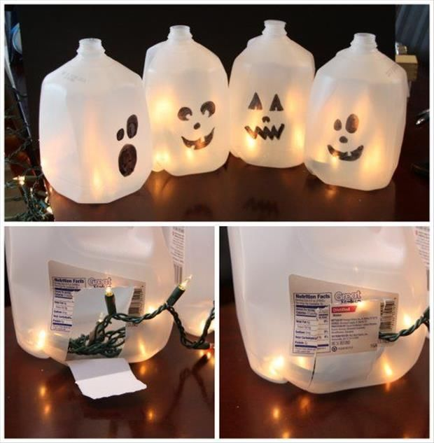 DIY Halloween Milk Jug Ghosts Pictures, Photos, And Images