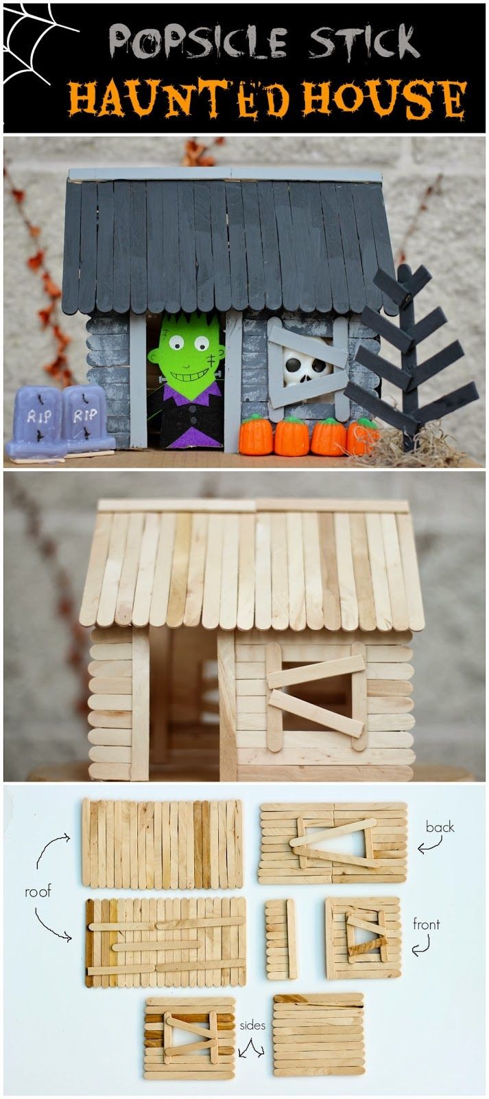 how to make a popsicle stick haunted house pictures