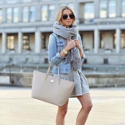 Denim Jacket Over A Dress With A Scarf Pictures, Photos, and ...