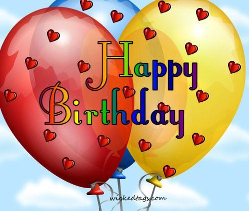 Happy Birthday Quote With Balloons And Hearts