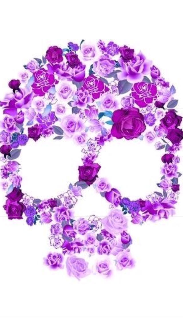 Purple flower skull pictures photos and images for facebook purple flower skull mightylinksfo