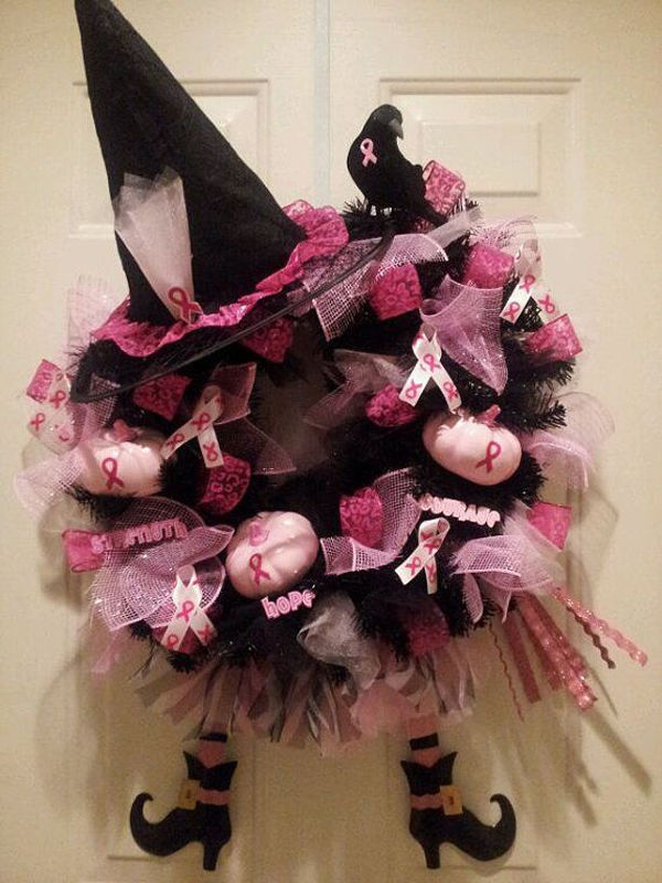 Halloween Wreath For Breast Cancer Awareness Month
