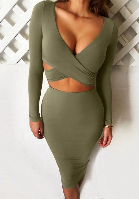 Olive Green Bodycon Skirt Set Pictures Photos And Images For Facebook Tumblr Pinterest And